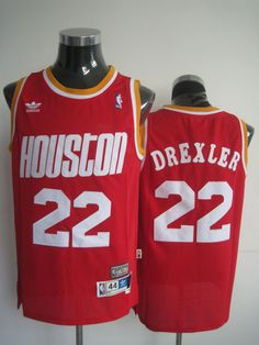 NBA Houston Rockets Clyde Drexler Mitchell and Ness Red Jersey 9e03b00fc