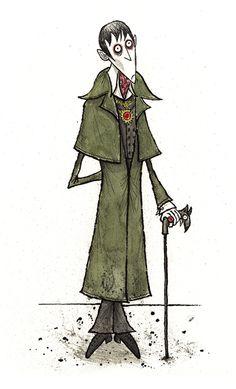 Illustration by Ken Turner of Johnny Depp as Barnabas Collins, in Tim Burton's, 'Dark Shadows'. (http://kenturner.blogspot.com.au/2012/03/tim-burtons-dark-shadows-barnabas.html)