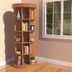 Revolving Bookcase Woodworking Plan by Sawtooth Ideas (living room) Revolving Bookcase, Bookcase Plans, Woodworking Furniture, Diy Furniture, Woodworking Projects, Woodworking Vise, Woodworking Supplies, Cool Bookshelves, Bookshelf Ideas