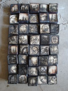 Wall tiles, stoneware, cone Olia Lamar Could be image transferred onto various surfaces made into boxes including fabric boxes. Could work on plaster Ceramic Wall Art, Ceramic Clay, Tile Art, Ceramic Pottery, Pottery Art, Sculptures Céramiques, Sculpture Art, Clay Tiles, Encaustic Art