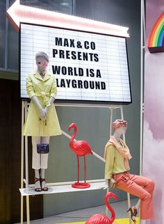"""MAX&CO.,Milan,Italy presents: """"The World is a Playground"""", creative by Studiopepe Visual Merchandising, Retail Signage, Photo Corners, Retail Windows, Max Co, Artwork Display, Visual Display, Shop Window Displays, Window Design"""