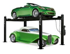 Challenger Lifts Lbs Four Post Tall Home Car Lift Home Car Lift, 4 Post Car Lift, Four Post Lift, Garage Car Lift, Dream Car Garage, Garage House, Covered Rv Storage, Rv Boat Storage, Trailer Storage