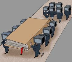 Funeral Funnies- Books are Dead by Medi Belortaja Satire, Political Art, Political Issues, Used Books, Books To Read, Satirical Illustrations, Satirical Cartoons, Meaningful Pictures, Reality Of Life