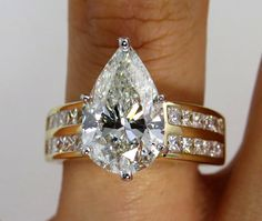 Estate Vintage 4.51ctw EGL USA  Wide PEAR Diamond Engagement Wedding Band Ring in 14k Yellow Gold