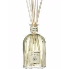 Dr Vranjes  Green Flowers Diffuser: Fresh, sunny top notes that include lemon and bitter orange blossom which intensify with the essences of fragrant natural green tea, flowers of ylang ylang, jasmine, mimosa and narcissus. The base and heart of the fragrance is formed from the scent of Vetiver that completes the perfume's character.  -Created by Italian perfumer Paolo Vranjes  Sorry, we can't ship this product outside the UK.