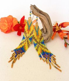 Yellow Long earrings seed beads fringes  French designer