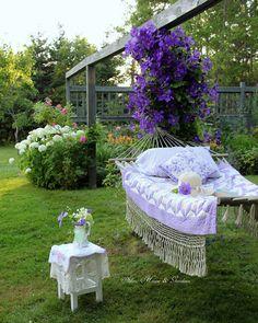 A hammock in the garden. Outdoor Rooms, Outdoor Gardens, Outdoor Living, Outdoor Furniture Sets, Outdoor Decor, Dream Garden, Home And Garden, Garden Oasis, Garden Path