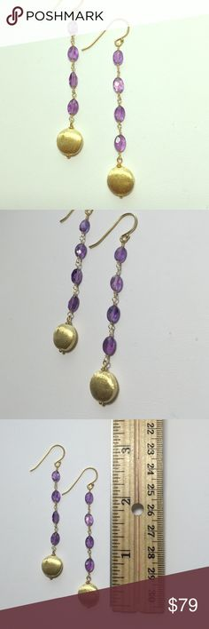 NWOT purple amethyst liner earrings New condition. Never been worn. 925 Sterling silver Yellow gold plated. Natural gemstones. Very cute💖✨ oval shaped purple amethyst linear dangling round yellow gold plated ball 💜💖 Jewelry Earrings