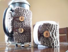 barley brown 8 cup knit french press cozy by bySarahBeth on Etsy, $35.00