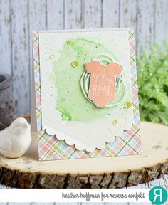 Card by Heather Hoffman. Reverse Confetti stamp set: Cute as a Button. Confetti Cuts: Onesie, Edgers and Edge Essentials. Baby card.