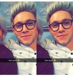 Niall with glasses is the best thing ever
