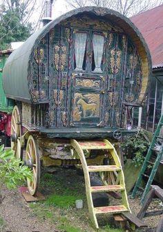 Bow top gypsy wagon.