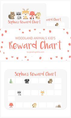 Woodland Animals Kid's Reward Chart | Personalize this adorable award chart to motivate your child to complete chores, finish homework, or complete potty training. #diy #momtips #pottytraining #rewardchart #kidsactivities #woodlandanimals