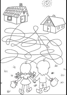 Perníková chaloupka Coloring Pages For Kids, Coloring Sheets, Coloring Books, Kindergarten Goals, Nursing Home Activities, Maze Worksheet, Hansel Y Gretel, Homeschool Worksheets, Picture Puzzles