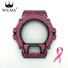 WILMA Chrome Black x Pink Crystal Bling Metal Bezel GD-X6900 C-X6900-2G10 donate…