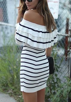 Black-White Striped Pleated Cascading Ruffle Off Shoulder Slim Fashion Mini…