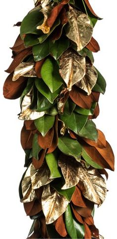Magnolia leaf garland with metallic paint