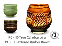 AMACO Potter's Choice layered glazes PC-62 Textured Amber Brown and PC-40 True Celadon.