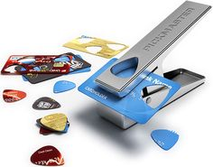 Pickmaster Plectrum Punch - a hole puncher designed to turn old gift cards, ids, and credit cards into personalized strummers.
