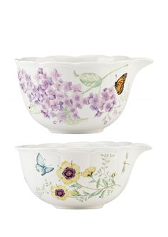 LENOX Set of 2 Butterfly Meadow Figural Nesting Mixing Bowls