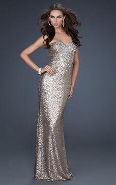 La femme silver sequin prom dress