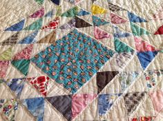 Vintage Ocean Waves Quilt Hand Quilted Scrappy by TresconyAntiques