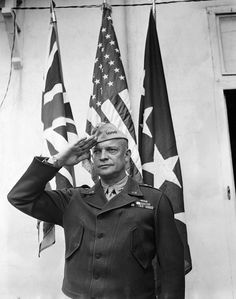 General Dwight D. Eisenhower saluting the British, American, and the General's Flags, May Courtesy CSU Archives/Everett Collection Past Presidents, American Presidents, American War, American History, British American, Military Units, Military Officer, Dwight Eisenhower, Joining The Military