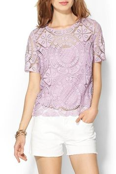Piperlime Collection Gridded Lace Tee