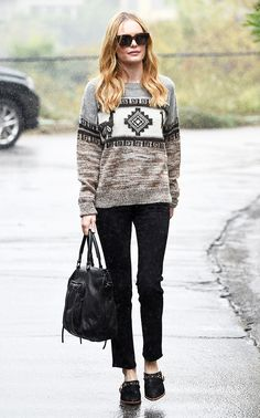 Kate Bosworth wearing a crew neck printed knit sweater, black cropped pants, and low-heeled mules