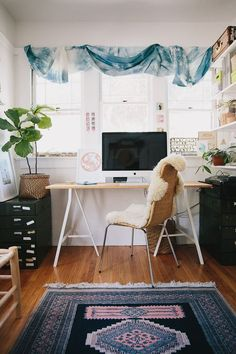 Bright, Bohemian Home | A Cup of Jo- that rug