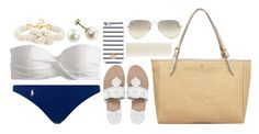 """""""Poolside"""" by lauren-hailey ❤ liked on Polyvore featuring J.Crew, Polo Ralph Lauren, Tory Burch, Jack Rogers, BaubleBar, Ray-Ban and Eos"""