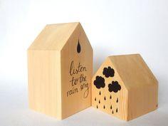 Set of two wooden houses.  Rain art wooden houses. by DecorAsylum
