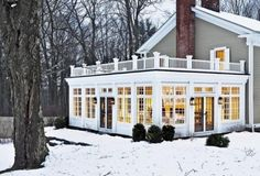 Love this. Enclosed porch and balcony on top of it