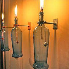Wine Bottle Oil Lamp INDOOR Modern by GreatBottlesofFire