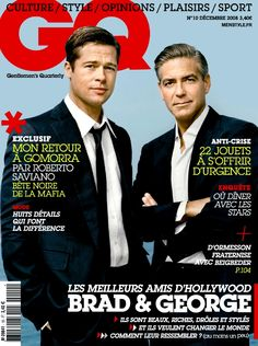 Brad Pitt and George Clooney on the cover of GQ magazine.