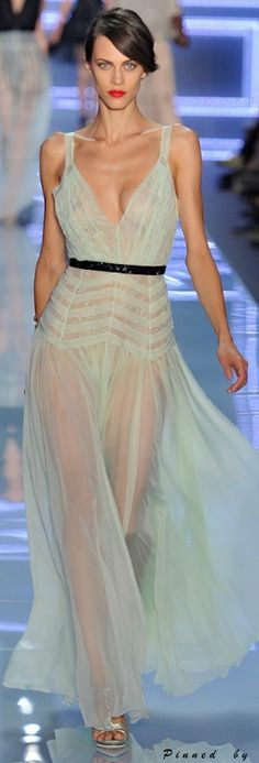 Christian Dior ~ Sleeveless Sheer Gown, Pale Green 2011