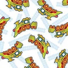 Buddys Big Adventure Dinosaur Train Trains on White Cotton Fabric