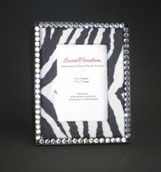 Zebra Print & Bling Picture Frame  w/ clear by LaurieBCreations, $12.50