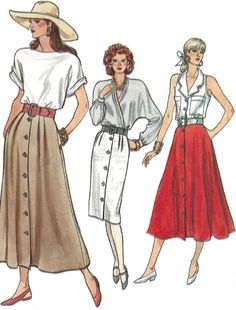 1980s Skirt Pattern #Vogue Vintage Flared Straight by SelmaLee