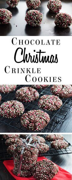 Christmas Crinkle Cookies This recipe for Chocolate Christmas Crinkle Cookies is a festive twist on a traditional treat.This recipe for Chocolate Christmas Crinkle Cookies is a festive twist on a traditional treat. Köstliche Desserts, Holiday Desserts, Holiday Baking, Holiday Treats, Holiday Recipes, Delicious Desserts, Dessert Recipes, Christmas Recipes, Snacks Recipes