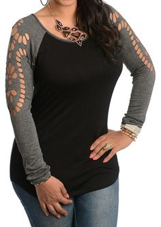 Splicing Hollow Out T-Shirt Without Necklace $13.59