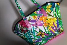 Handbag with colorful pattern. Cotton 100% + pink genuine leather. Made in Poland.  #handbag #cottonbag #leatherbag #genuine leather #colorful #pattern #largebag #cotton #bag #madeinpoland