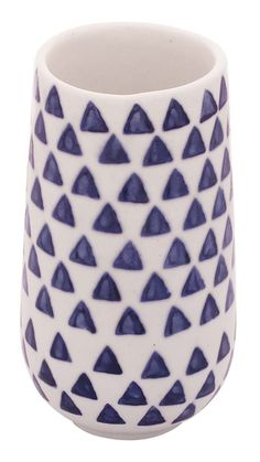 Bulk Wholesale Handmade Ceramic Art Decorative Vase – Hand-Painted White & Blue Geometric Vase – Home Decor