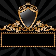 black and gold wallpaper | Stock vector of 'radiant black background with a gold royal symbols'