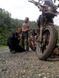 Motor Bro Tantra Trouble dalam perjalanan touring ke Padang