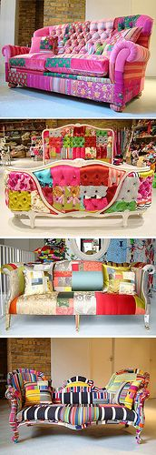 Patchwork sofa designs for the home Patchwork Sofa, Crazy Patchwork, Patchwork Designs, Patchwork Ideas, Funky Furniture, Painted Furniture, Upcycled Furniture, Brown Furniture, Country Furniture