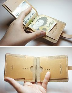 Handmade leather money clip Wallet by dextannery on Etsy