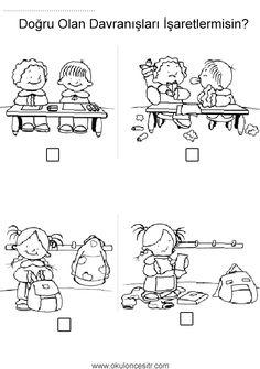 Doğru yanlış kavramı çalışma etkinliği sayfaları ve okul sırası çanta doğru yanlış zıt kavramlar çalışma sayfası etkinlikleri örnekleri kağıdı indirme, çıktı alıp yazdırma. Free true false worksheets download printable. Cartoon Coloring Pages, Kindergarten Worksheets, Social Skills, Ramadan, Children, Kids, Preschool, Positivity, Teaching