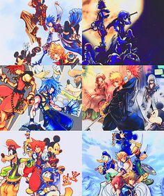 Kingdom Hearts series in order. Birth by Sleep, Kingdom Hearts, Re:Chain of Memories, 358/2 Days, Re:Coded,an Kingdom Hearts II