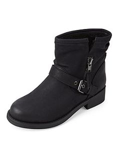 Black Shearling Lined Buckle Strap Ankle Boots  | New Look